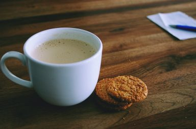 Hot drink and biscuit