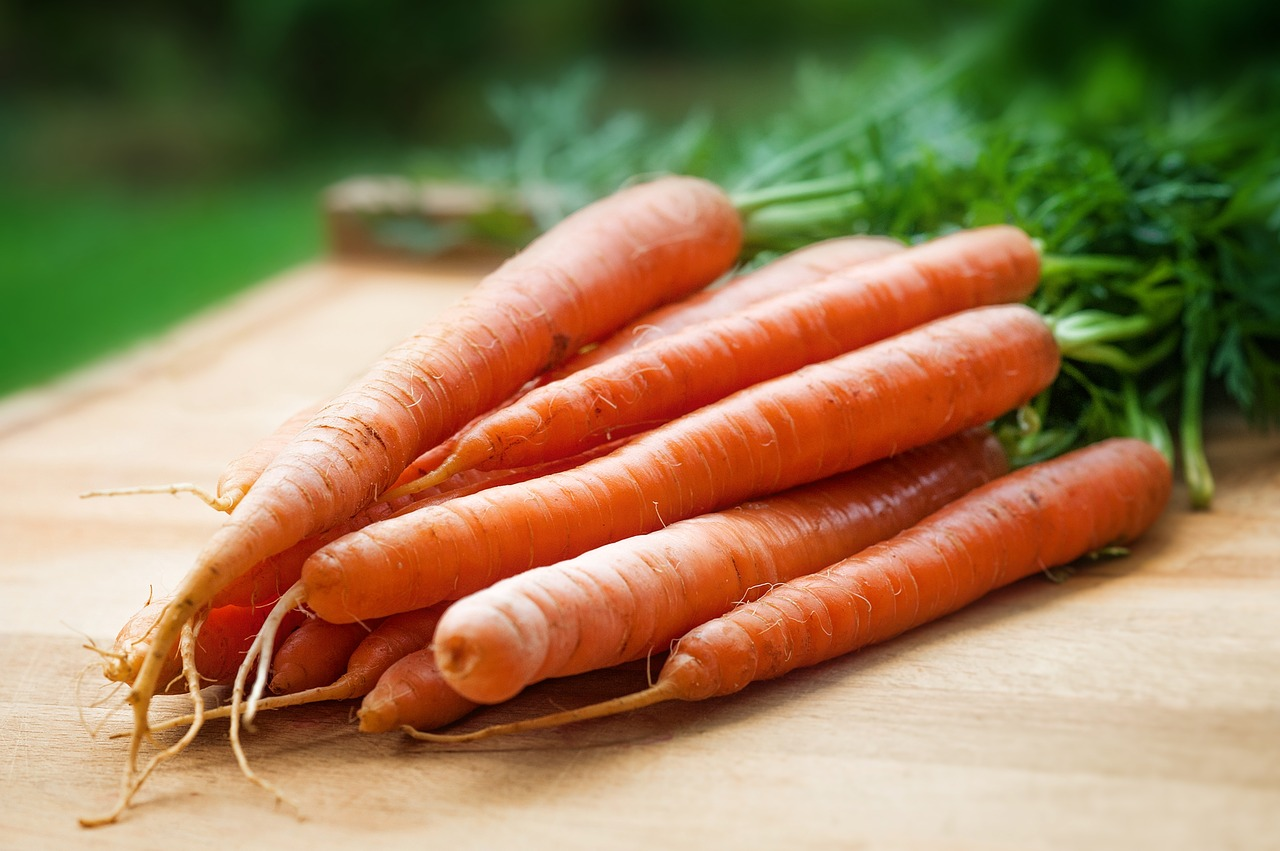 Carrots on chopping board
