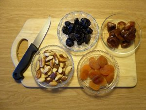 Dried fruit on chopping board