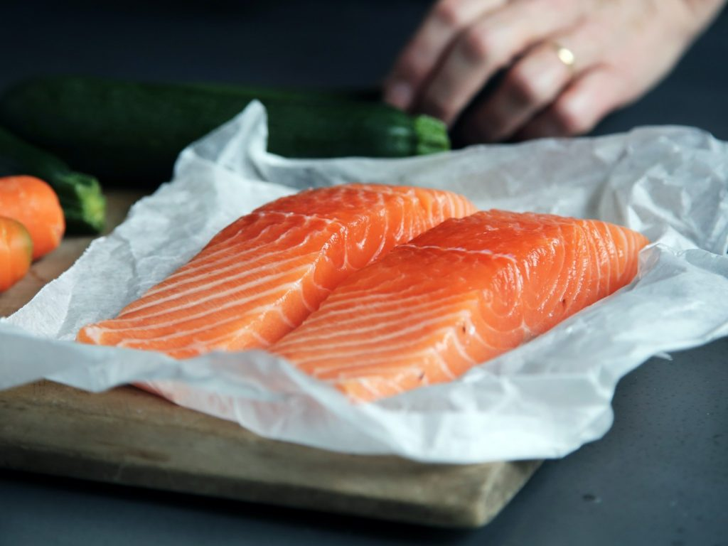 Salmon on a tray.